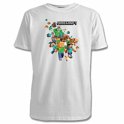Minecraft Childrens T-Shirts - 2 Designs / 7 Colours / Sizes 1-15