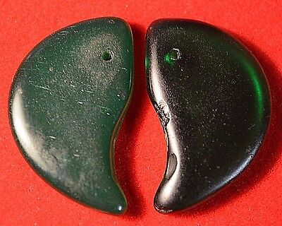 Antique Czech Molded Green Glass Lion Claw Tabular Wedding Beads, African Trade