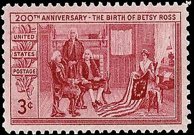 US Postage Stamp PHOTO MAGNET Reproduction Betsy Ross 1951 three cents