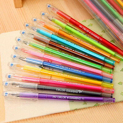 Hot 0.5mm Rollerball Gel Pens Fine Point 12-Pack Assorted Colors Chic HU
