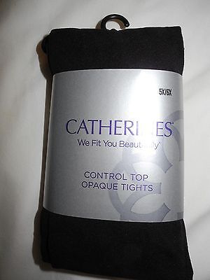 Plus Size Women's, 5X 6X, Black Control Top Footed Tights, Catherines