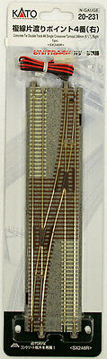 """Kato 20-231 UNITRACK #4 Single Crossover Turnout 248mm (9 3/4"""") Right (N scale)"""
