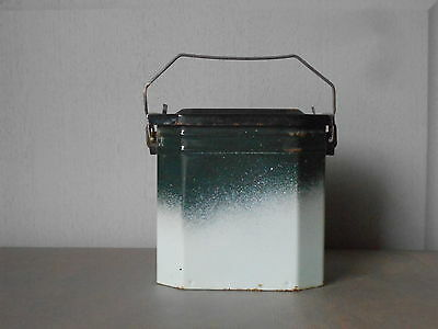 OLD French Enamel Graniteware LUNCH PAIL LUNCH BOX + its tray