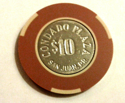 $10 CONDADO PLAZA Brown & Beige COIN Casino Chip SAN JUAN Puerto Rico Bud Jones