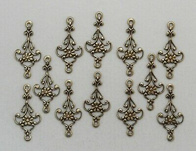 X1505 ANTIQUED GOLD OPEN FILIGREE 2 RING CONNECTOR - 48 Pc Lot (QTY DISC)