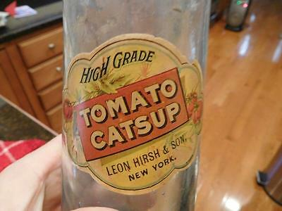 "Rare Antique Food Bottle-"" High Grade Tomato Catsup Leon Hirsh&sons New York,ny"""