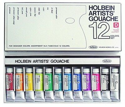 NEW Holbein Artists' Gouache Designer's 12 Color Set G720 15ml (No.5) from Japan