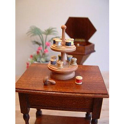 Dolls House 12th Scale Cotton reel holder and threads. McQueenie