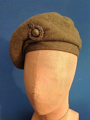 Ww2 1943 Royal Marines Commando Gs Beret And Badge Dated