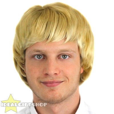 Mens Blonde Wig Adult Boyband Hairstyle 1960's 1970S 1980S Fancy Dress Hairpiece