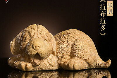 TL030 -8.5*5.5*3.9 CM Carved Boxwood Carving Figurine - Lovely Dog
