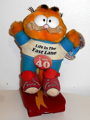 "Vintage 1980's Garfield The Cat - LIFE IN THE FAST LANE - 8"" Plush Toy  (C001)"