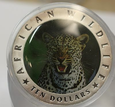 10Dollar Liberia African Wildlife Leopard Color