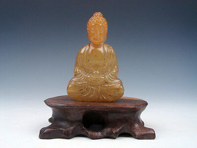 Solid Stone Hand Carved Seated Buddha Praying Sculpture Miniature #08201509