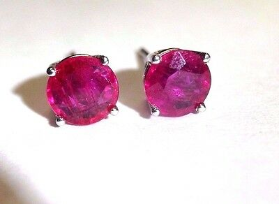 2 CTW Natural Round Ruby 14K White Gold Soliltaire Stud Earrings