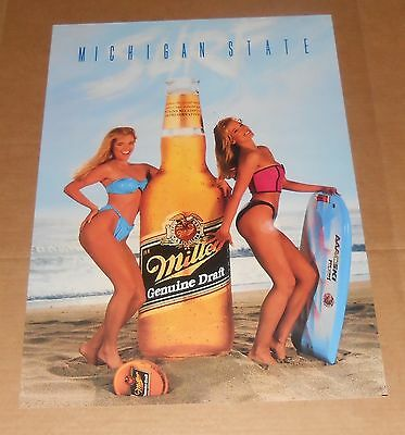 Miller Genuine Draft Michigan State Poster Vintage 28x20 (surf girls) Beer RARE