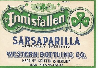Western Bottling Co. Innisfallen Sarsaparilla Bottle Label San Francisco CA