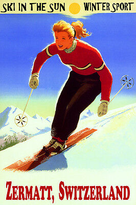 Zermatt Switzerland Ski In The Sun Winter Sport Girl Skiing Vintage Poster Repro