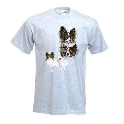 Papillon Design No 356 Printed On A FOTL T-Shirt, White Or Ash Grey