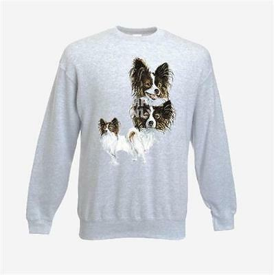 Papillon Design No 356 Printed FOTL Sweatshirt Ash Grey or white