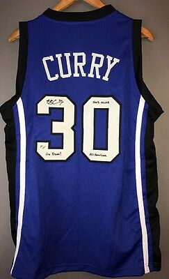 Seth Curry Signed & Inscribed Duke Blue Devils Autographed L Jersey (Curry COA)