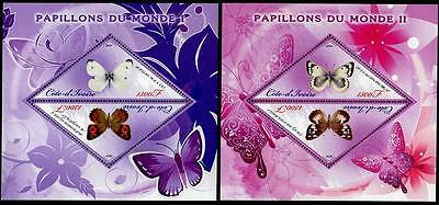 IVORY COAST Scott Unlisted Butterflies Stamp S/S #1 & #2