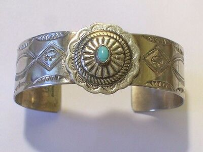 SIGNED NAVAJO STERLING SILVER STAMPED BRACELET with CONCHO & TURQUOISE