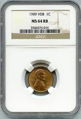 1909 VDB Lincoln Wheat Cent Penny NGC MS 64 RB Certified AI508