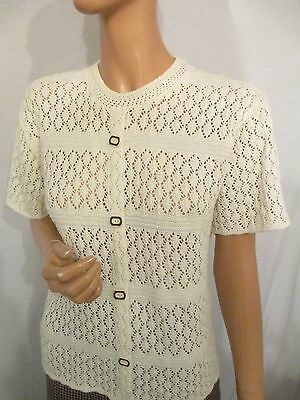 VINTAGE REPRO 1940s/1950s HOUSEWIFE STYLE HAND KNIT CROCHET SHORT SLEEVE TOP M