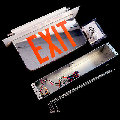 Hubbell Dual Lite LED Edge Lit Exit Sign Recessed Mount + Recess Kit LECDRXWA
