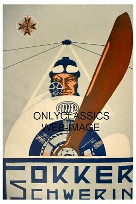1917 Fokker Schwerin Wwi Aircraft Aviation Airplane Poster Art Deco Graphics