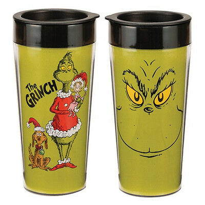 Dr. Seuss How the Grinch Stole Christmas 16 oz. Plastic Travel Mug NEW UNUSED