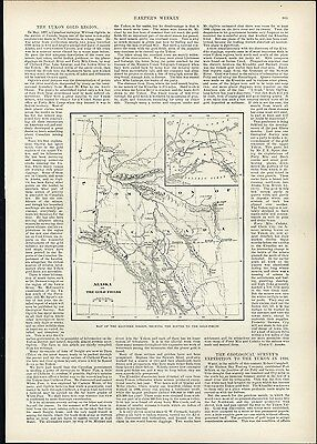Alaska Gold Fields route map 1897 vintage newsprint fascinating printed paper