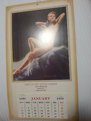1959 Girly Calendar - Dream Girl - Nude Pin Up - Discount Auto Parts New York