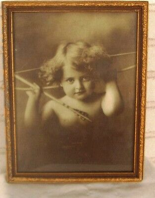 Beautiful Antique Cupid Awake Framed Print Excellent