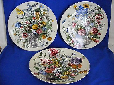 3 Winterthur 1996 Decorator Plates Adapted 1745 Flower Print Andrea Sadek 8.25""