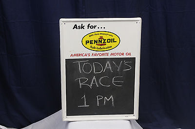 1965 PENNZOIL Motor Oil Tin Advertising Display sign w/ Chalk board