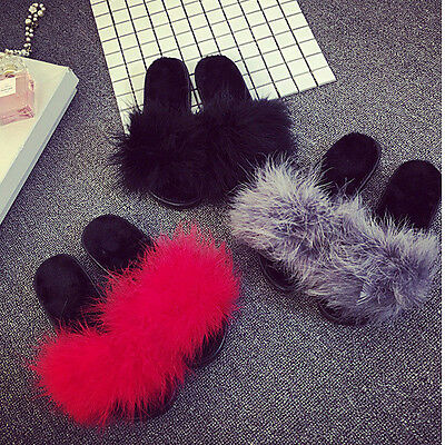 Women's Fur Fluffy Slippers Slides Mules Sandals Feather Home Open Toe Shoes