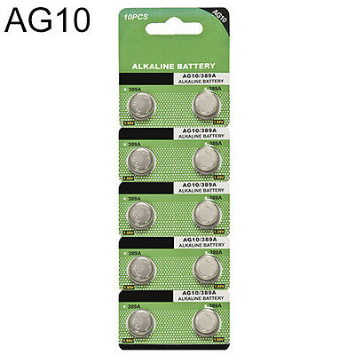 10x AG10 LR54 SR1130 LR1130 1.5V Alkaline Button Coin Cells Watch Battery Sturdy