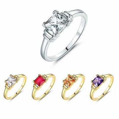 White/Yellow Topaz Red Ruby/Purple Amethyst Engagement Solitaire Rings Size 5-9