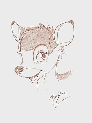 Ron Dias Hand Drawing Signed Authentic Sketch Of Bambi Disney Movie Autograph