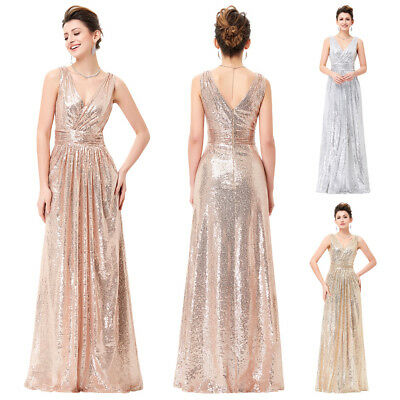 Long Maxi Sequins Bridesmaid Dress V-neck Pageant Evening Formal Party Ball Gown
