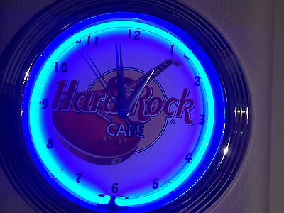 HARD ROCK blue Wanduhr Neonuhr Neon signs clock Uhr Neonclock news