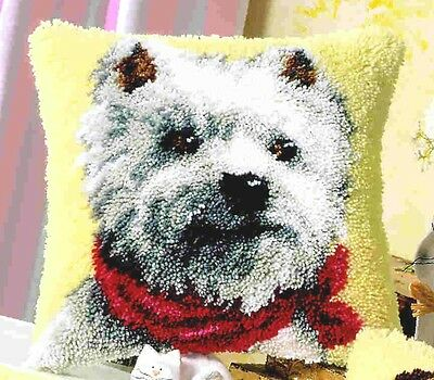 Embroidery pillow 40x40cm Westie doggie Terrier Latch hook kit for Knot -3560