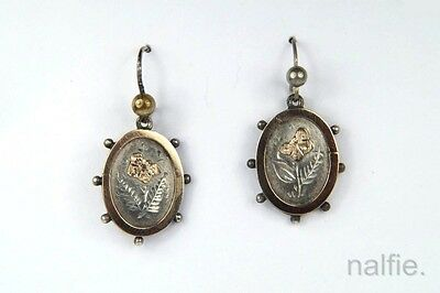 PRETTY ANTIQUE ENGLISH LATE VICTORIAN SILVER & GOLD FLORAL EARRINGS c1884