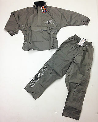 KIDS IKON MUD JACKET PANT WATERPROOF RAIN SUIT COAT TROUSERS GREY motocross 5-6