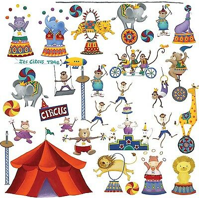 RoomMates Repositionable Childrens Wall Stickers Big Top Circus NEW