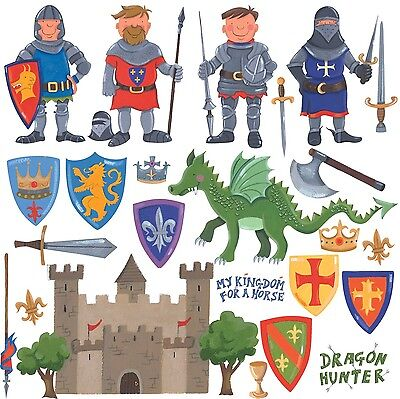 RoomMates Repositionable Childrens Wall Stickers - Knights And Dragon NEW