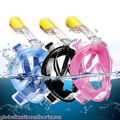 Full Face Snorkeling Mask Scuba Dive Swimming Snorkel w/ Breather Pipe for Gopro