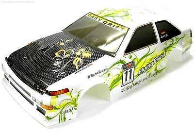 12353 1/10 Scale Drift Touring Car Body Cover Shell RC White Green Cut